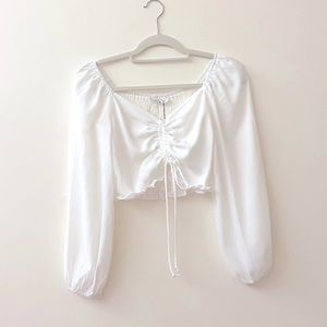White Ballon Long Sleeve Crop Top with Tie Detail